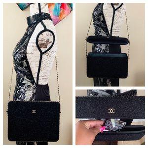 Rare Chanel glitter tweed crossbody bag